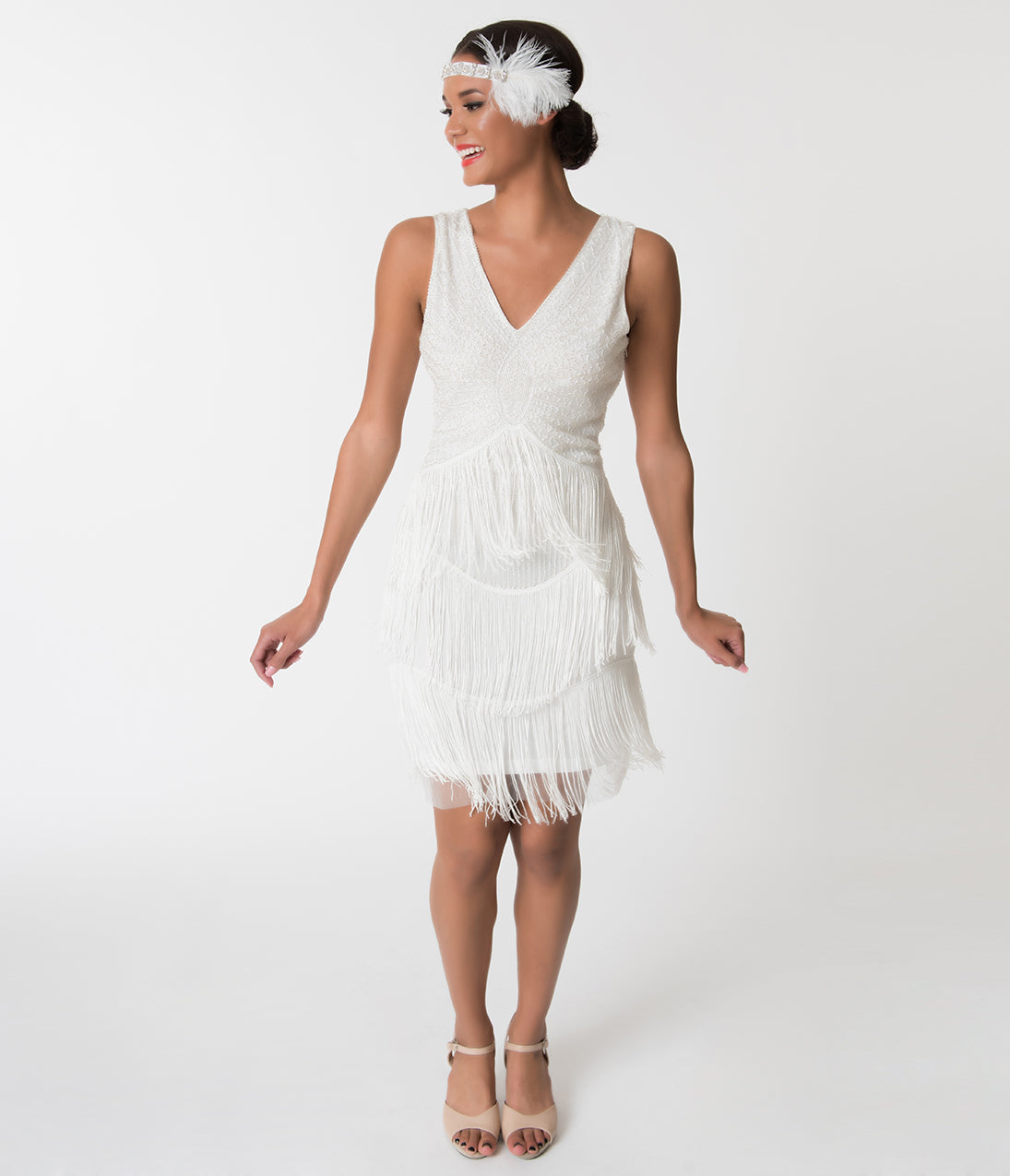 1920s Wedding Dresses- Art Deco Wedding Dress, Gatsby Wedding Dress Unique Vintage 1920S White Beaded Renee Fringe Cocktail Dress $41.00 AT vintagedancer.com