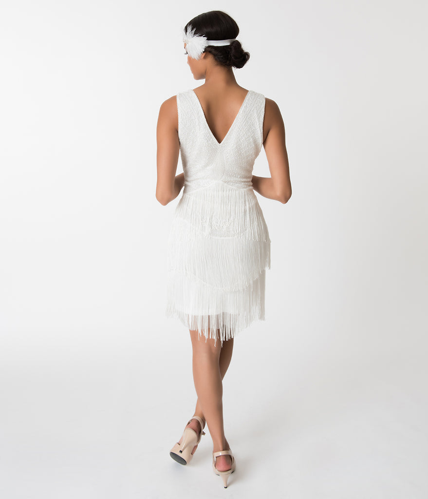 Unique Vintage 1920s White Beaded Renee Fringe Cocktail Dress