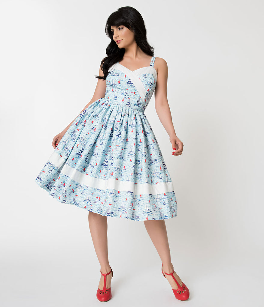 Unique Vintage Light Blue Sailboat Print Darienne Swing Dress