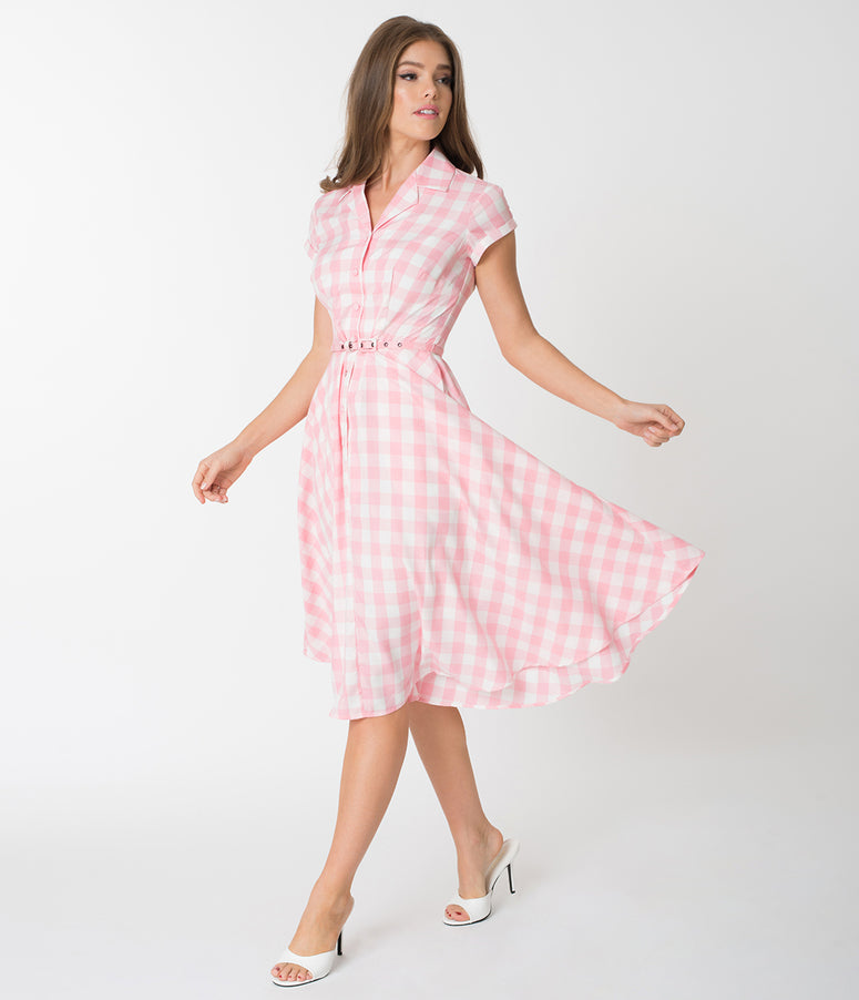 Unique Vintage 1950s Style Light Pink & White Gingham Alexis Swing Dress