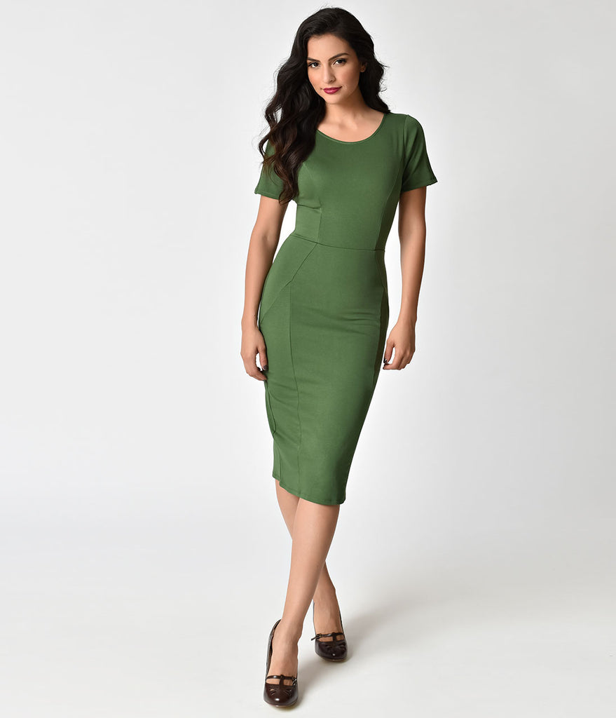 Unique Vintage 1960s Matcha Green Stretch Mod Wiggle Dress