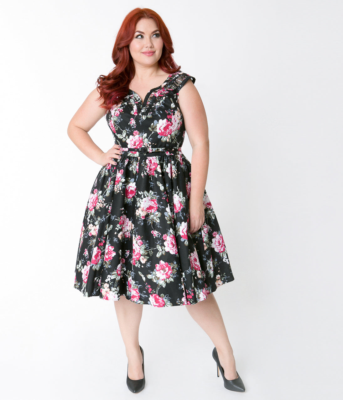 Pin Up Dresses | Pin Up Clothing Unique Vintage Plus Size 1950S Black  Floral Bouquet Sleeveless Olive Swing Dress $110.00 AT vintagedancer.com