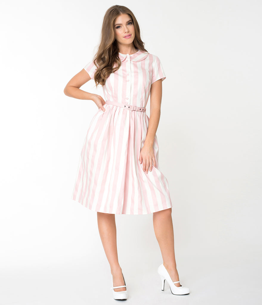 Unique Vintage 1960s Style Pink & White Striped Regina Shirtdress