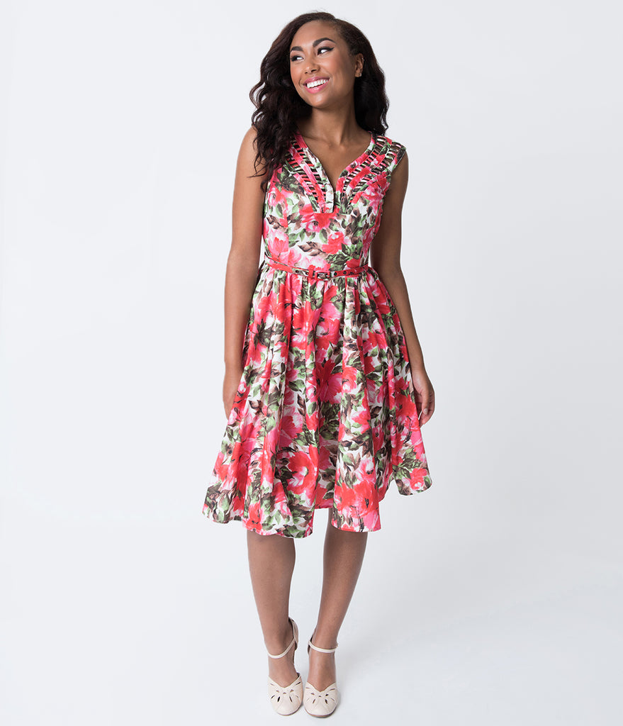 Unique Vintage 1950s White & Pink Florals Sleeveless Olive Swing Dress