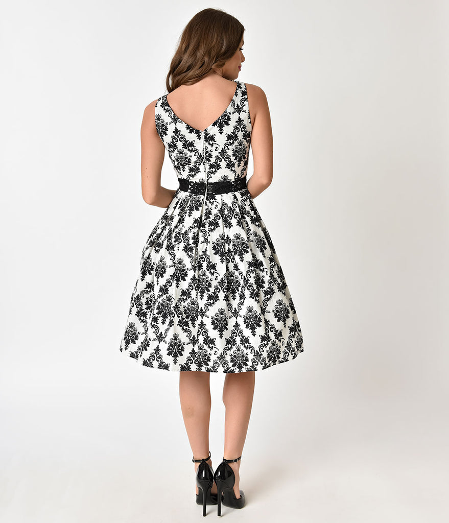 Unique Vintage 1940s White & Black Damask Sleeveless Bella Swing Dress