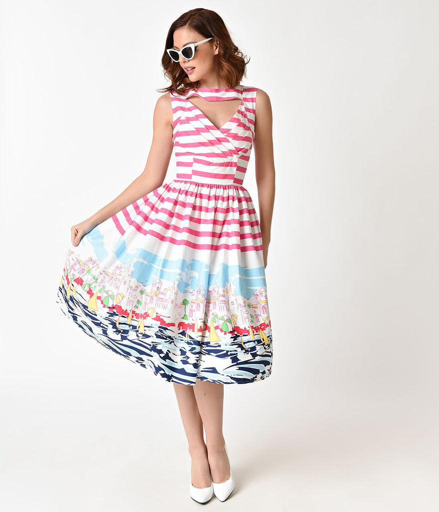 Unique Vintage 1950s Style Pink Stripe Seaside Sleeveless Shelly Swing Dress