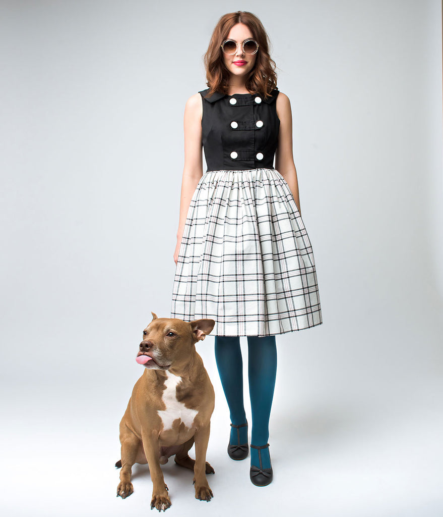 Unique Vintage 1960s Style Black & Plaid Double Button Ithaca Flare Dress