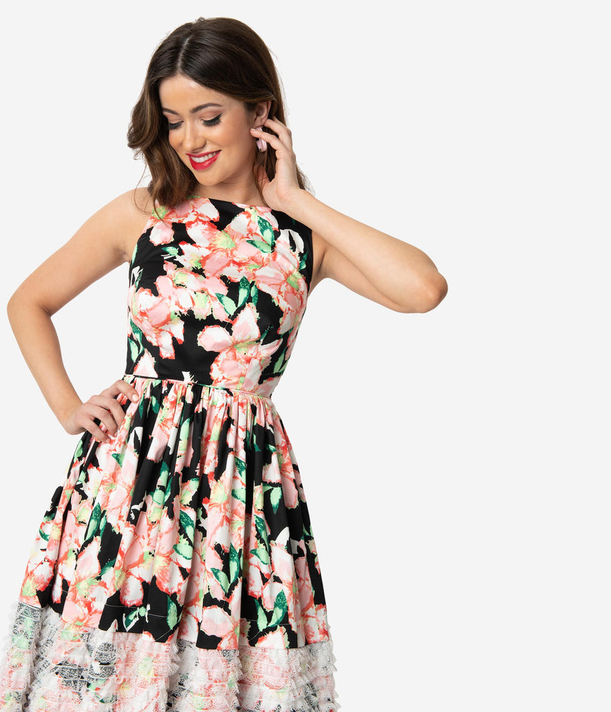 Unique Vintage Black & Pink Floral Lace Trim Shrimpton Swing Dress