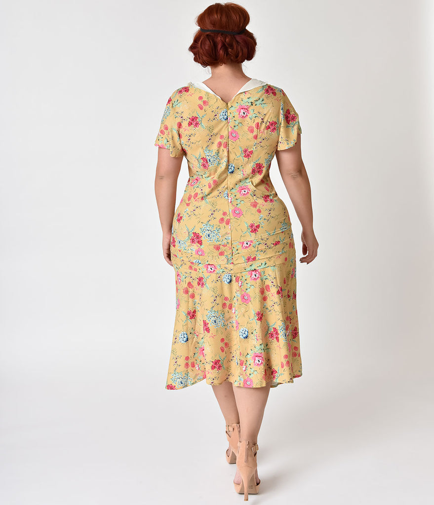 Unique Vintage Plus Size 1920s Style Yellow Wildflower Print Wilshire Flapper Day Dress
