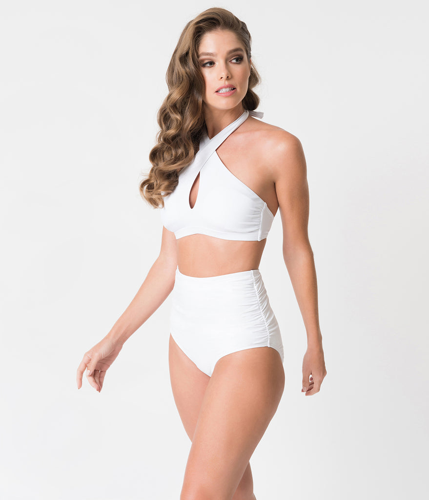 Unique Vintage White Cross Halter Lorelei Swim Top