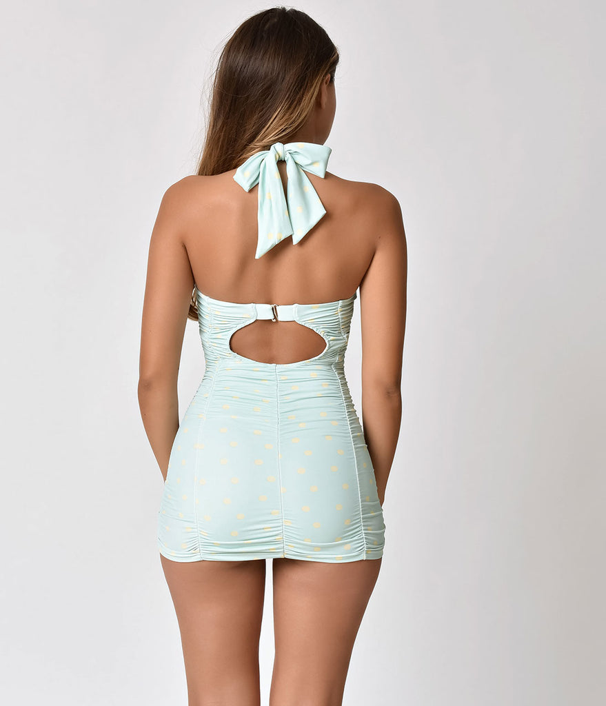 bfbebe7ca31a9 Unique Vintage Mint & Cream Dotted Mansfield Halter One Piece Swimsuit