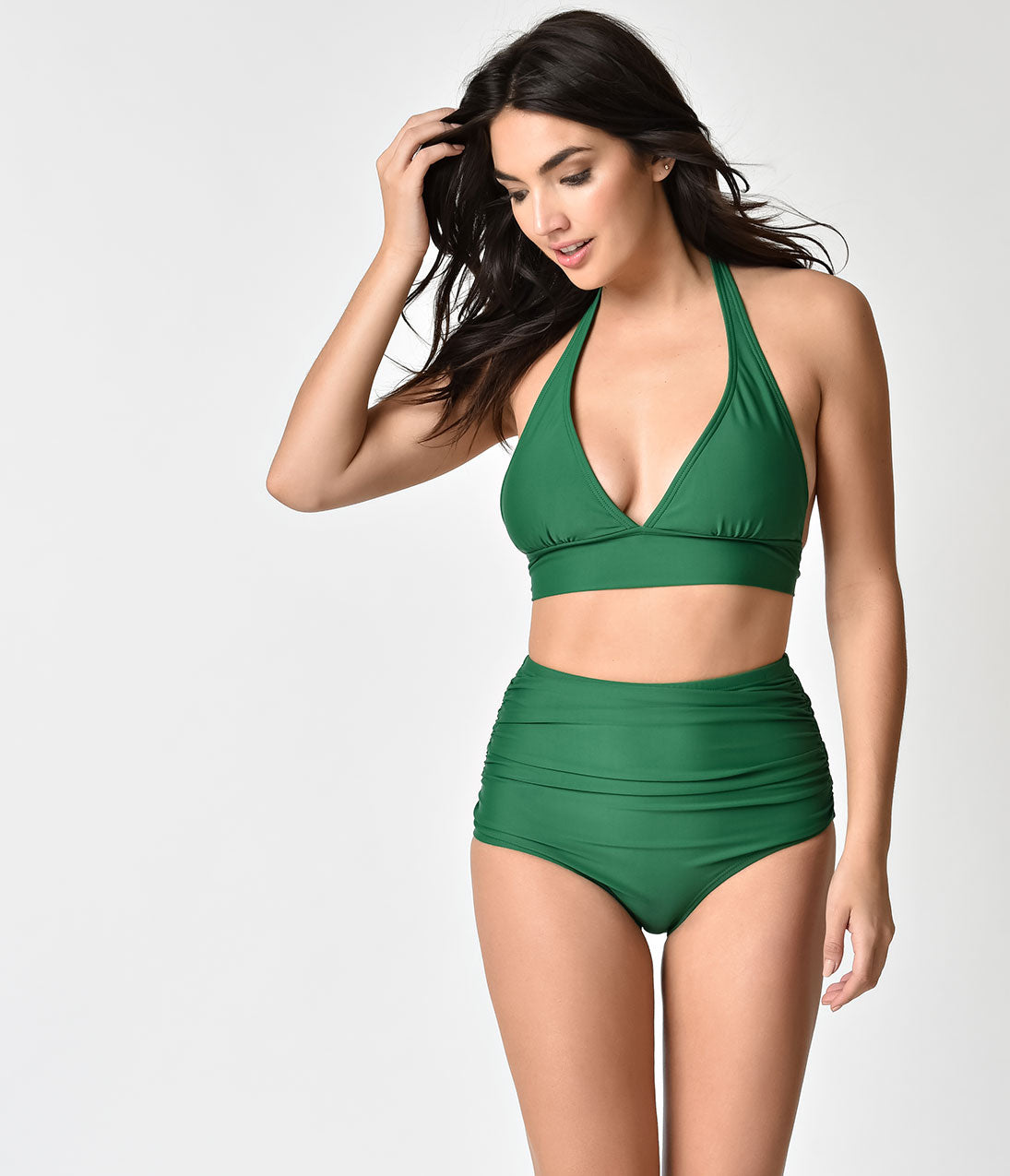 Vintage Bathing Suits | Retro Swimwear | Vintage Swimsuits Unique Vintage Emerald Green Georgiana High Waist Swim Bottoms $28.00 AT vintagedancer.com