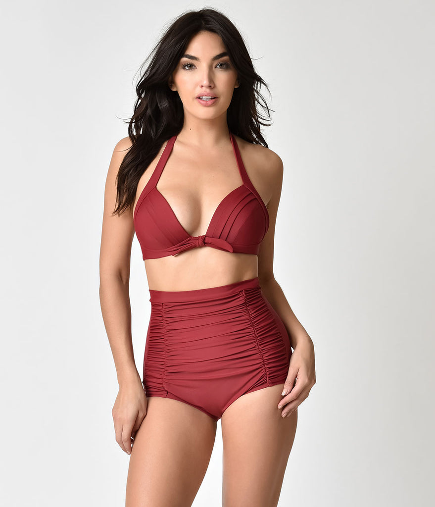 Unique Vintage Burgundy Red Monroe Halter Swim Top