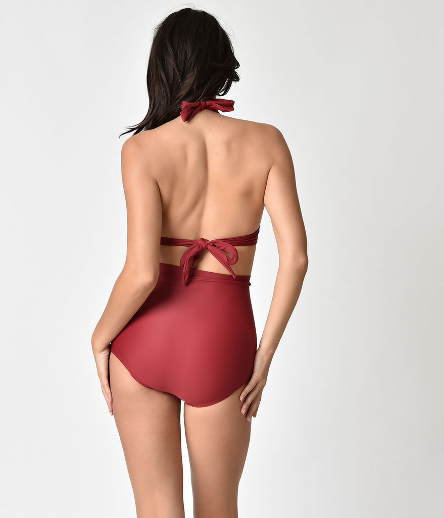 Unique Vintage Burgundy Red Monroe High Waist Swim Bottom
