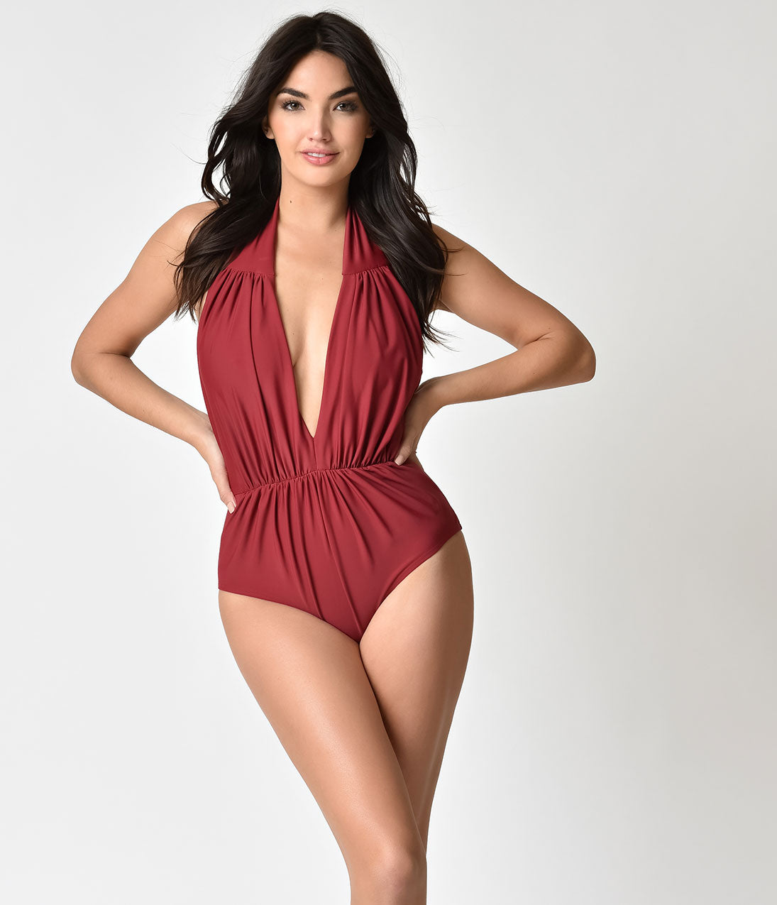 Vintage Bathing Suits | Retro Swimwear | Vintage Swimsuits Unique Vintage Burgundy Red Halter Shirred Derek One Piece Swimsuit $68.00 AT vintagedancer.com