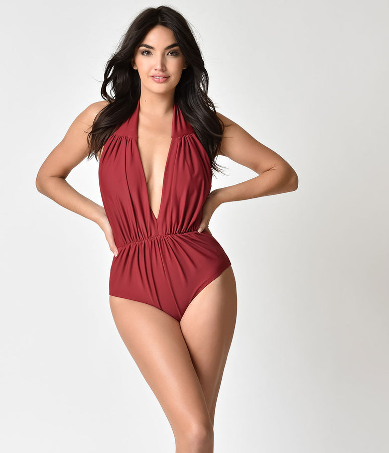 Unique Vintage Burgundy Red Halter Shirred Derek One Piece Swimsuit