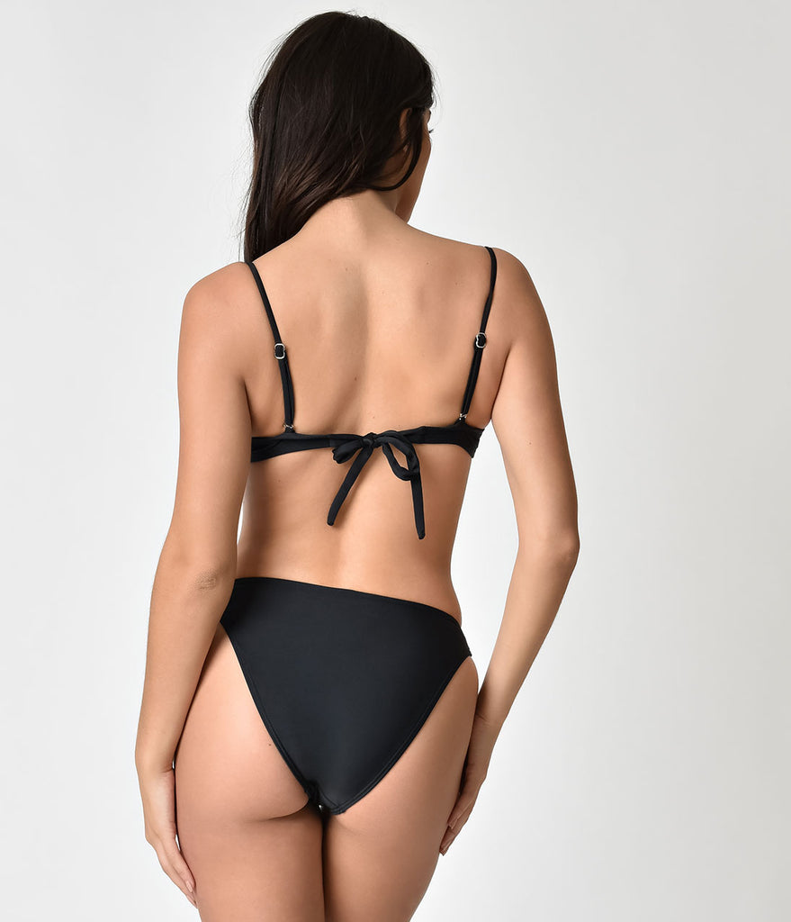 Unique Vintage Black Sweetheart Bandeau Charlene Swim Top
