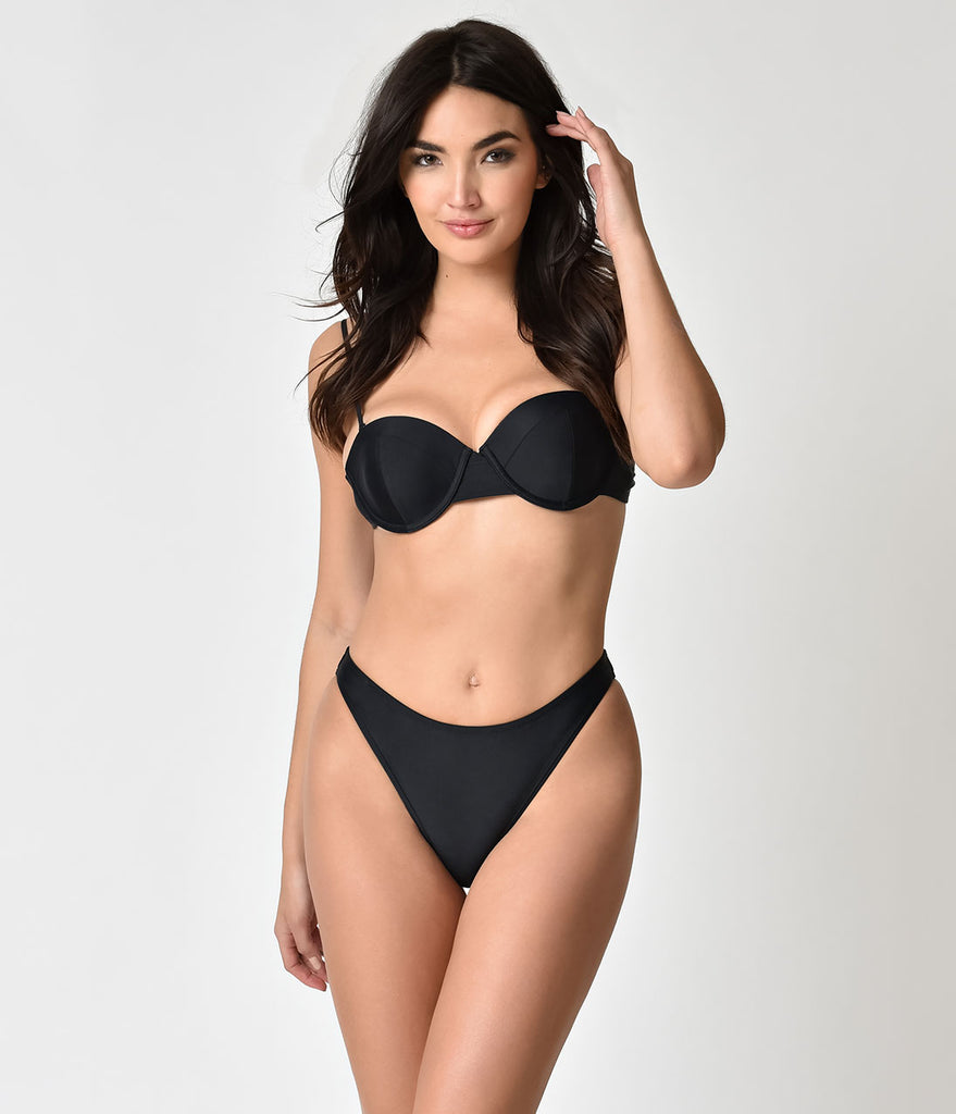 Unique Vintage Black Sexy High Leg Jacinda Swim Bottoms