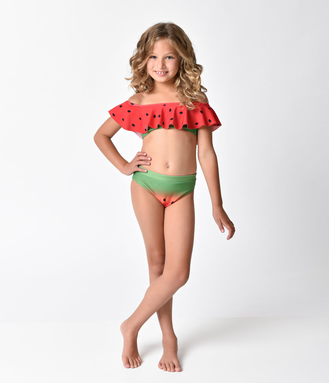 Unique Vintage Kids Watermelon Off Shoulder Ruffle Swim Top 23f7b3f0a81