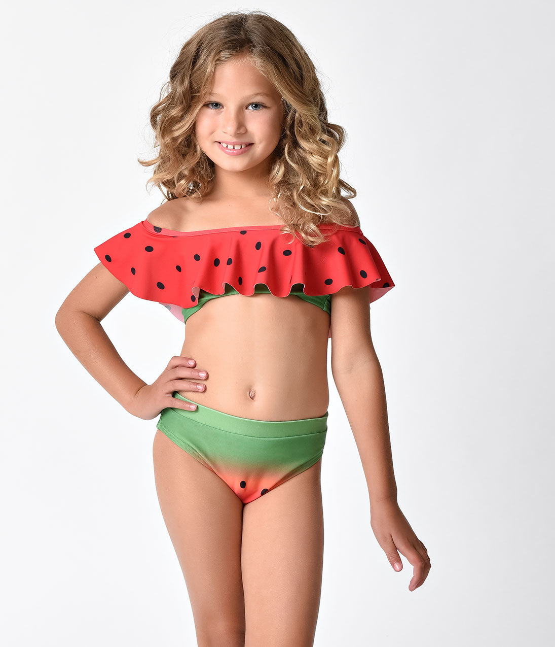 5335ae4489e2a Unique Vintage Kids Watermelon Off Shoulder Ruffle Swim Bottom