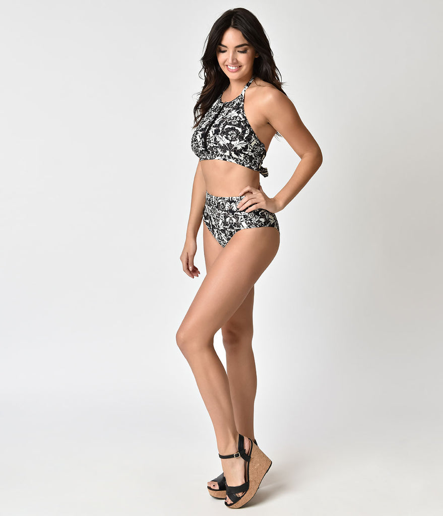 Unique Vintage Black & Ivory Cat Damask Daphne Swim Bottoms
