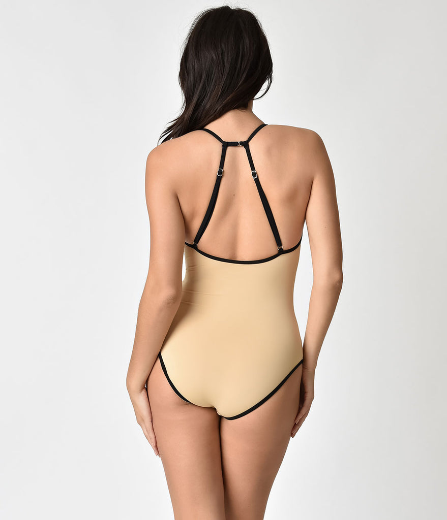 Retro Style Nude & Black Trim One Piece Swimsuit