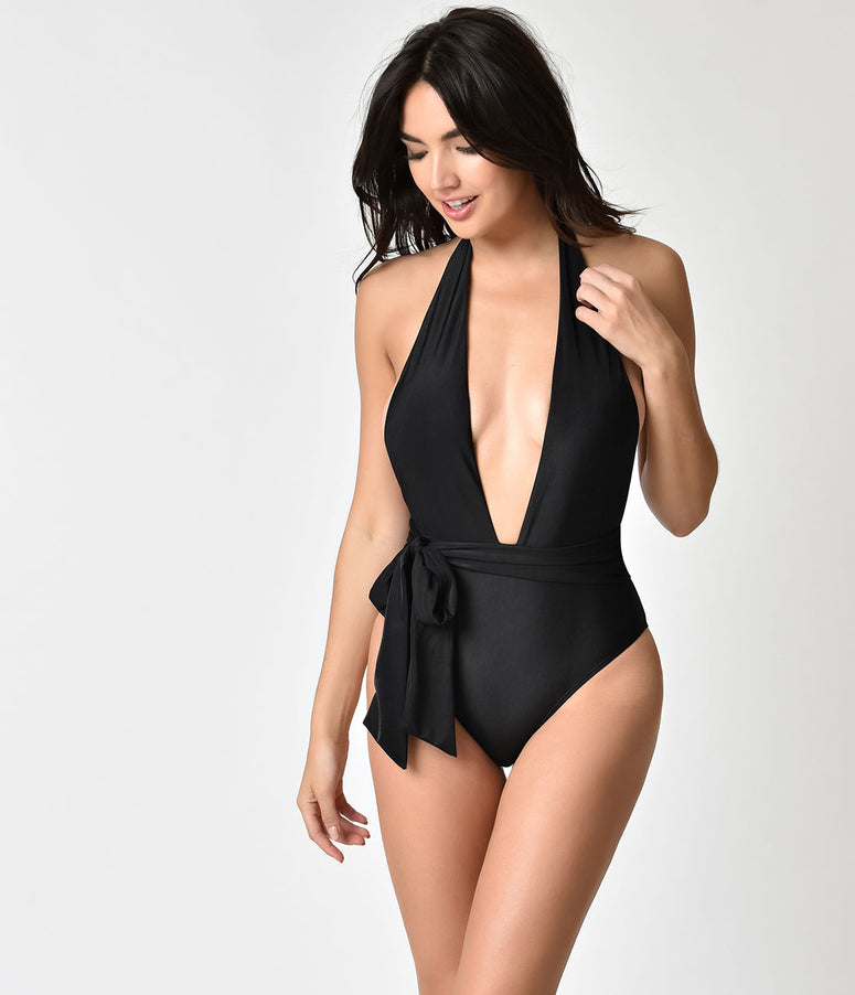 Black Plunging Bow One Piece Halter Swimsuit