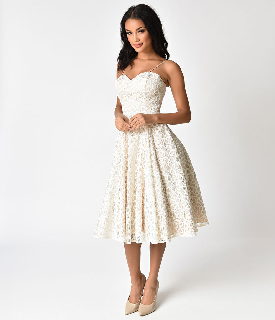 Unique Vintage 1950s Style Champagne & Ivory Lace Carole Swing Dress