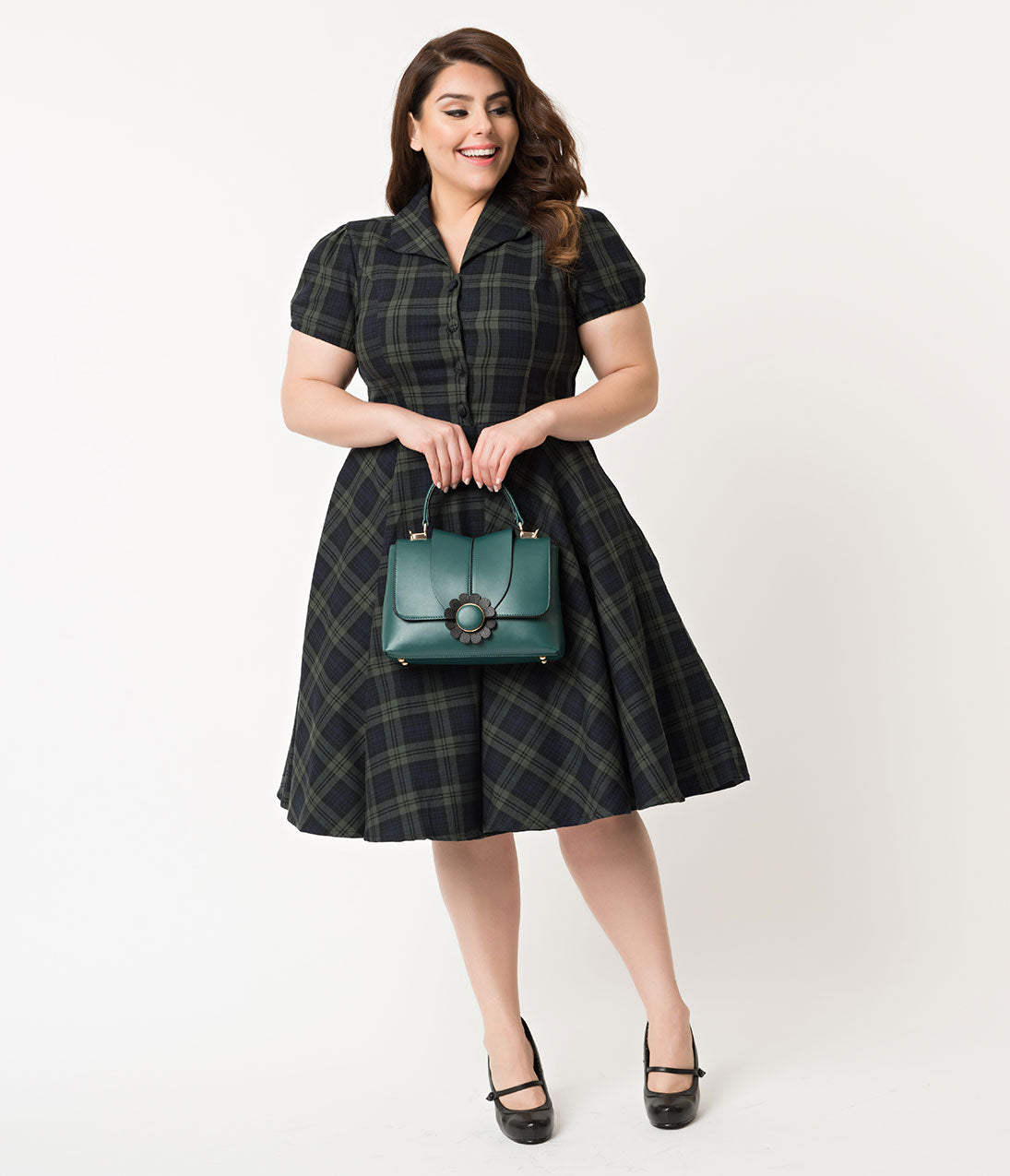 60s 70s Plus Size Dresses, Clothing, Costumes Plus Size 1950S Style Navy  Emerald Tartan Short Sleeve Mona Swing Dress $78.00 AT vintagedancer.com