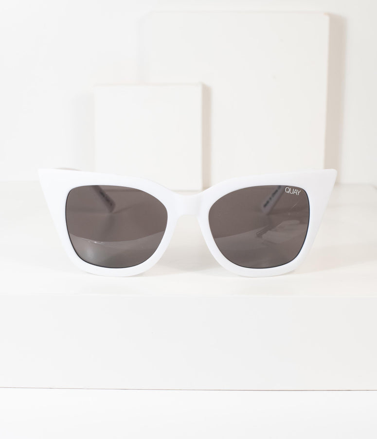 Quay White Winged Harper Cat Eye Sunglasses