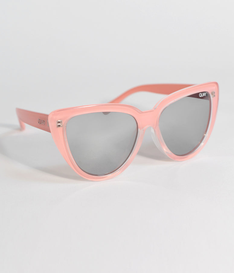 Quay Peach Pink Stray Cat Oversized Cat Eye Sunglasses
