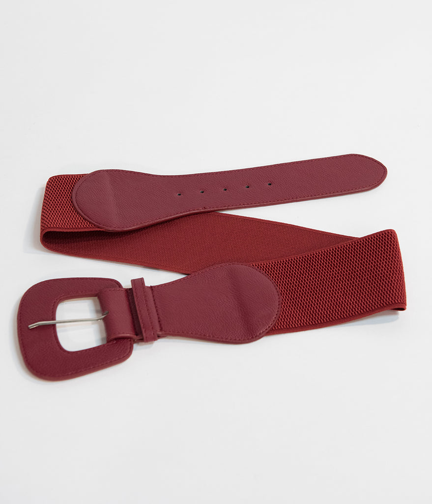 Retro Style Burgundy Red Leatherette Wide Elastic Cinch Belt