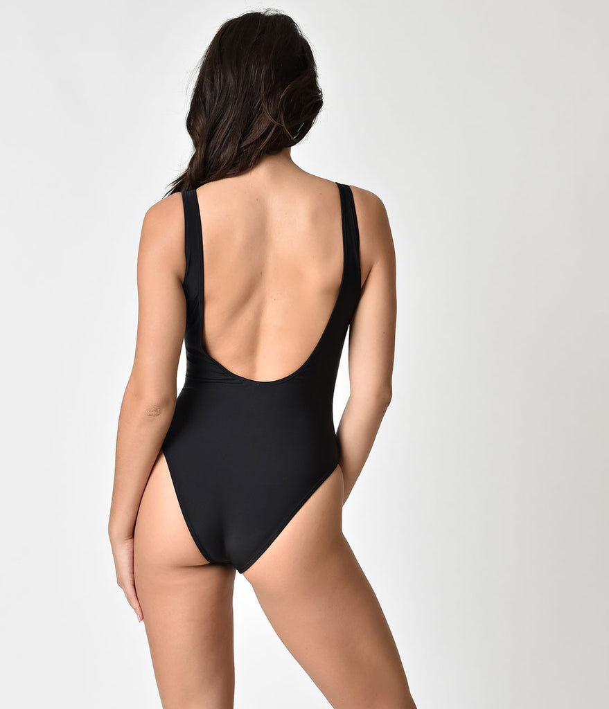 Retro Style Sexy Black Tank One Piece Swimsuit