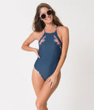Retro Style Blue & Teal Floral Print Criss Cross One Piece Swimsuit