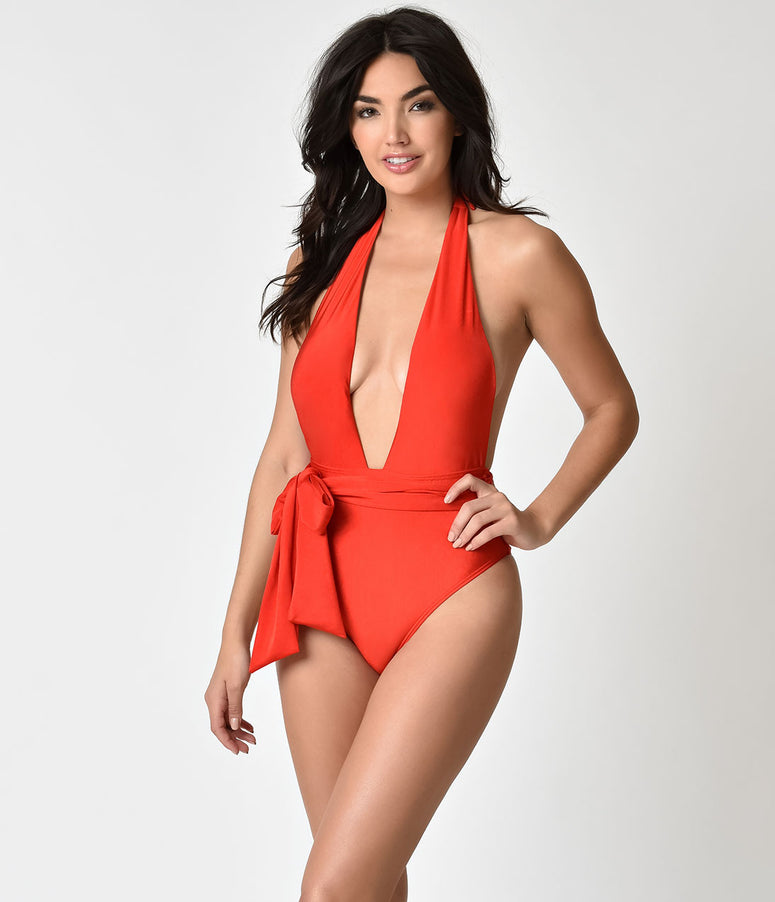 Red Plunging Bow One Piece Halter Swimsuit