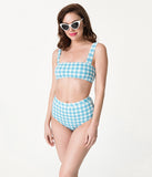 Retro Style Light Blue & Ivory Gingham Amore Rosa Swim Top