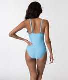 Retro Style Alaskan Blue & White Trim Ruffled One Piece Swimsuit