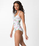 White & Pink Flamingo Print Ruched Halter Top One Piece Swimsuit