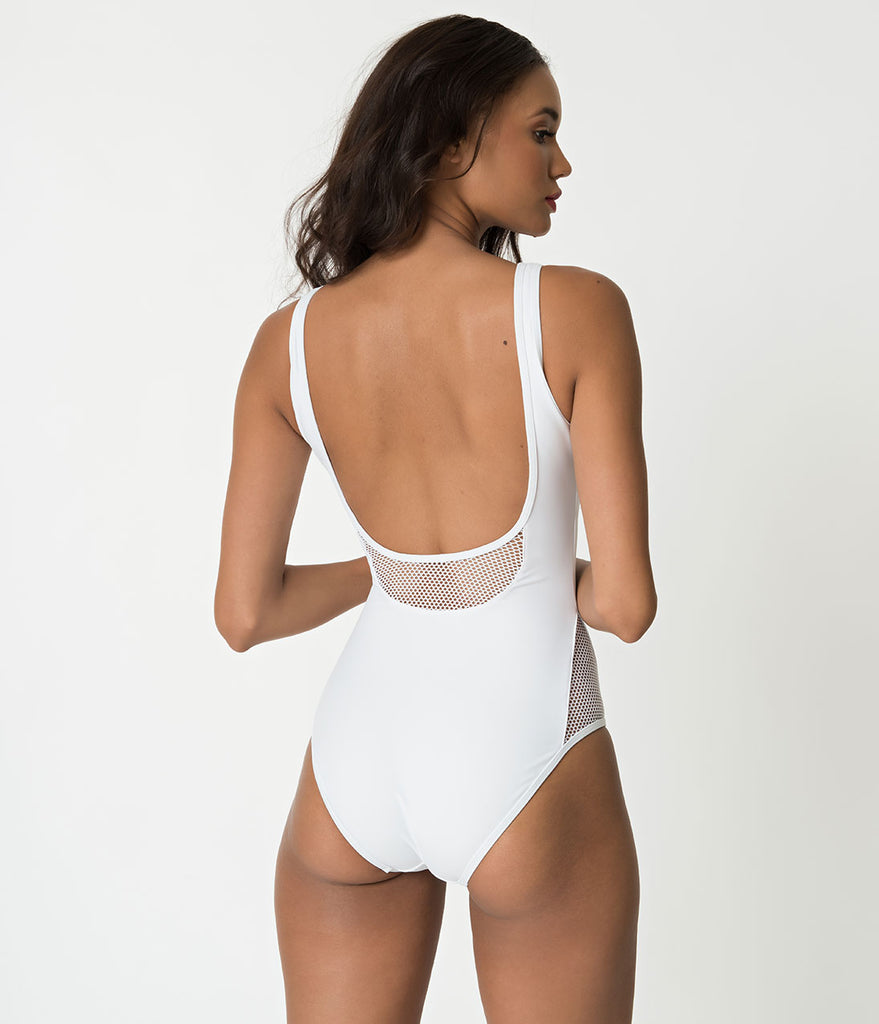Retro Style White Mesh Detailed One Piece Tank Swimsuit