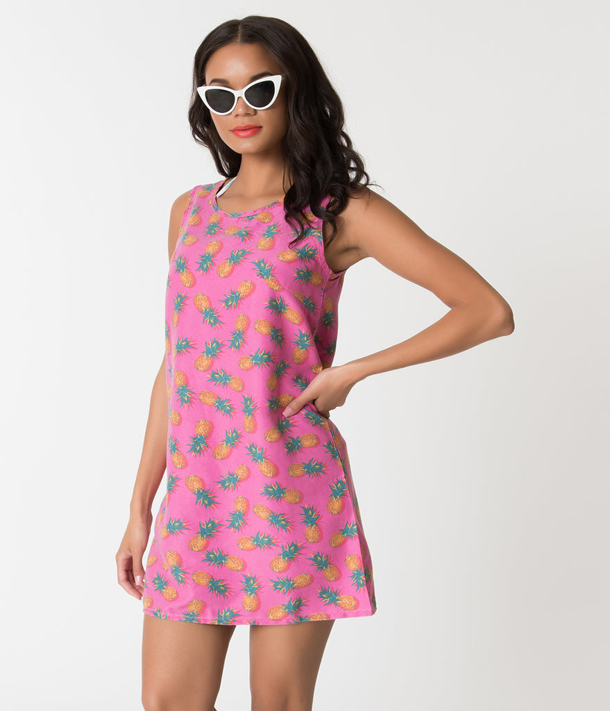e3a42387cf Retro Style Hot Pink   Pineapple Print Tank Swim Cover Up – Unique Vintage