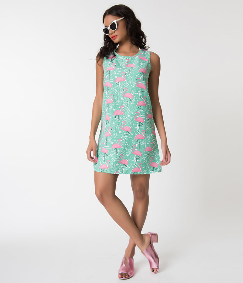 Retro Style Teal & Pink Flamingo Print Tank Swim Cover Up