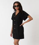 Black & Gold Button Up Short Sleeve Swim Cover Up