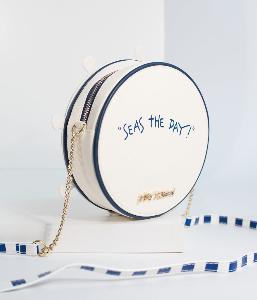 Betsey Johnson Ivory Seas The Day Round Crossbody