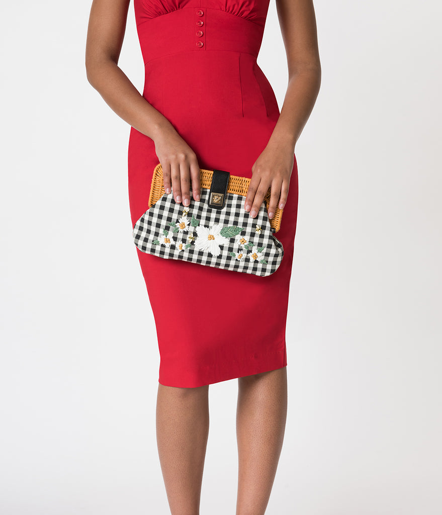 Betsey Johnson Black & White Gingham DaisyD & Confused Clutch