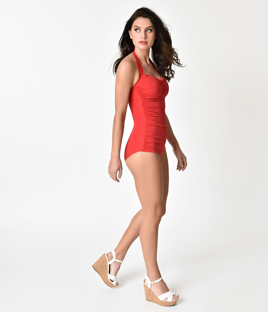 3991ab1c9f14f ... Esther Williams Vintage Inspired 1950s Style Solid Red Swimsuit ...