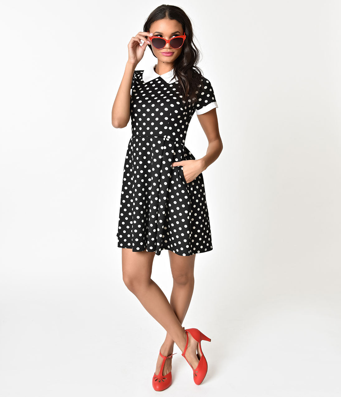 1960s Dresses | 60s Dresses Mod, Mini, Jackie O, Hippie Black  Ivory Polka Dot Fit  Flare Short Sleeve Dress $78.00 AT vintagedancer.com
