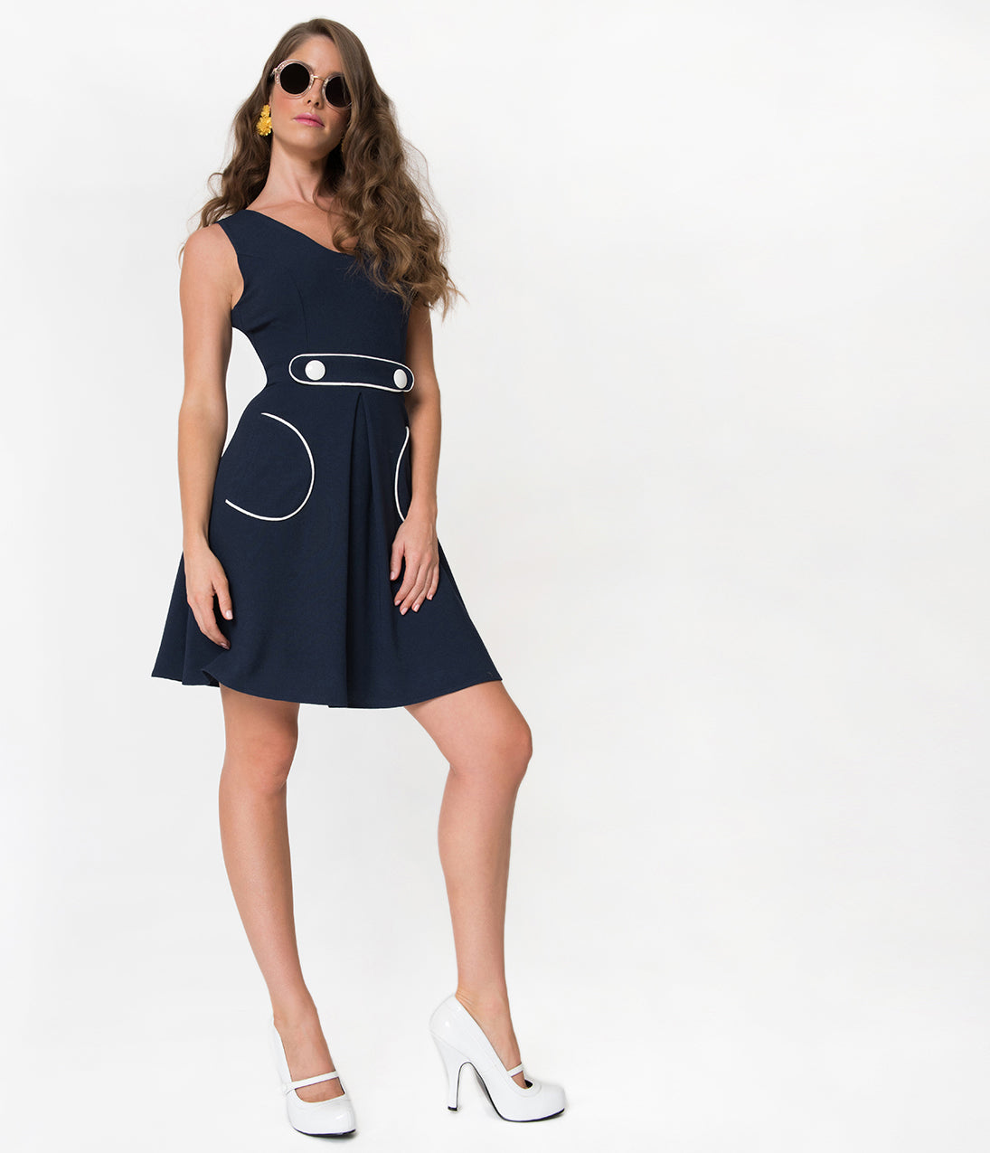500 Vintage Style Dresses for Sale 1970S Style Navy Blue  White Crepe Sleeveless Fit  Flare Dress $62.00 AT vintagedancer.com