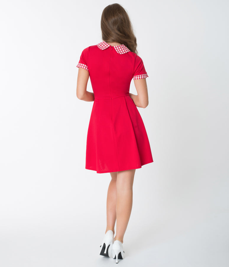 Red & Gingham Trim Short Sleeve Fit & Flare Dress