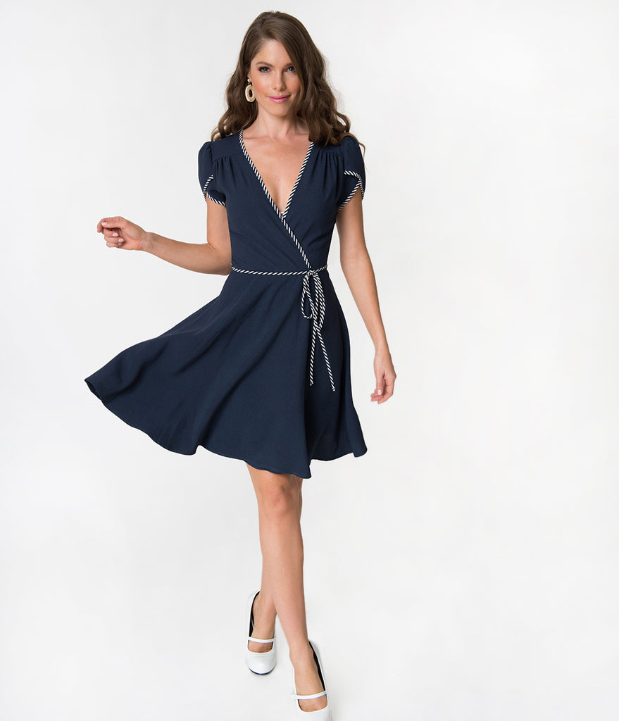 Navy Blue & White Striped Trim Tulip Sleeved Faux Wrap Crepe Dress