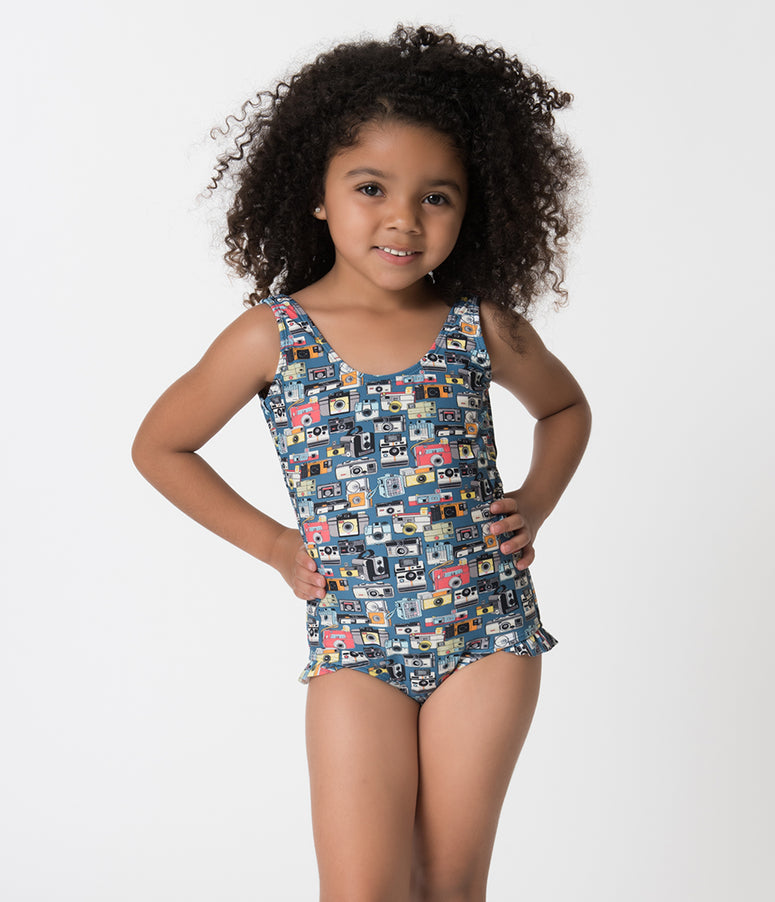 Retro Style Blue Vintage Camera Tank Style Kids One Piece Swimsuit